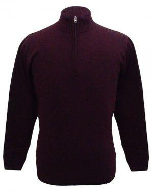 Men sweater T Neck Plain Maroon
