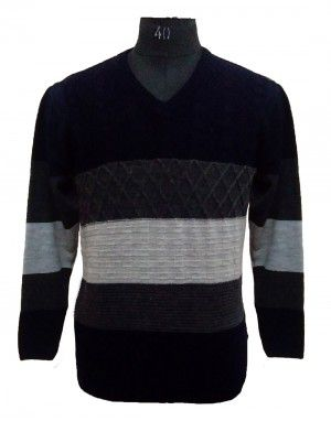 Men Sweater Stripe V neck