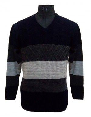 Men Sweater Stripe V neck
