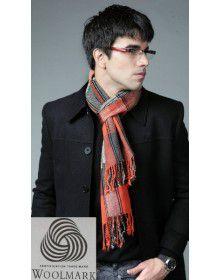 Pure Wool Muffler Designer Vertical Rust Color checks