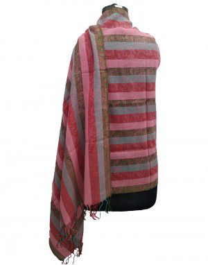 Multi stripes wool blend Stole Broad Stripes Purple