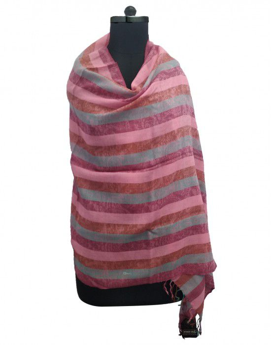Multi stripes wool blend Stole Broad Stripes Pink