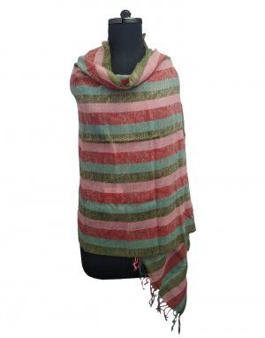 multi stripes wool blend stole light pink