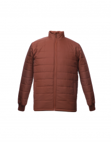 Mens Jacket Coffee Quilted Plain