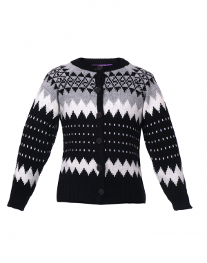 Girls Sweater Black Zigzag Printed