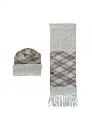 Muffler and cap set design square Light grey