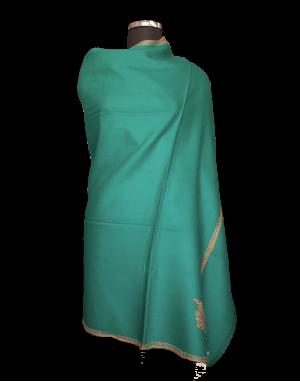 Kashmiri embroidery designer shawl green