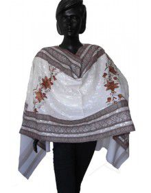 Purewool Embroidered Jal Stole Cream
