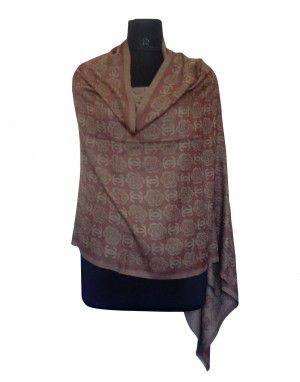 Semi Pashmina Stole Brown color Rose flower printed