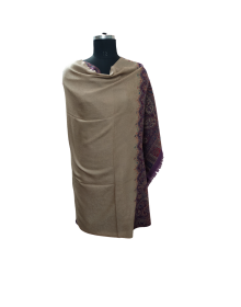 Pure wool full kanni palla  design shawl brown