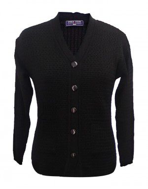 Ladies Cardigan Self design Black Plus Size