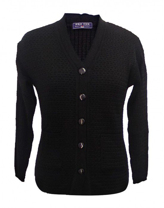 Ladies Cardigan Self design Black