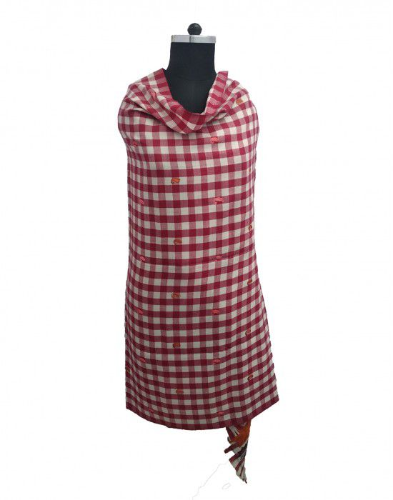 pure wool designer check with flower border