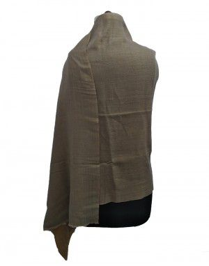 Semi Pashmina Reversible Stole Plain Grey Color