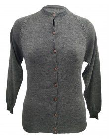 Womens Pure wool heavy Sweater Full Button Grey