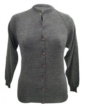 Womens Pure wool light weight Sweater Full Button Grey