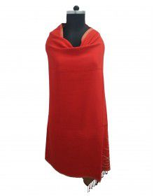 Woolblend Women Shawl red reversible shawls