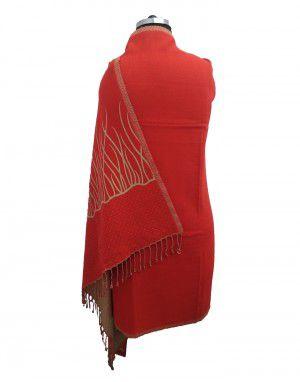 Woolblend Women Shawl red reversible shawls