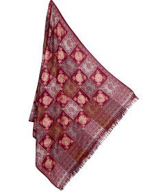 Pure wool shawl check self flower design