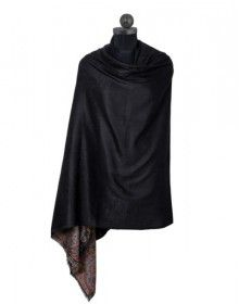 Pure wool black shawl with swarovski border