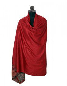 Pure wool Red shawl with swarovski border