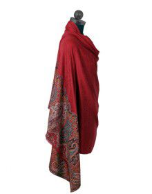 Pure wool Red shawl with suroski border