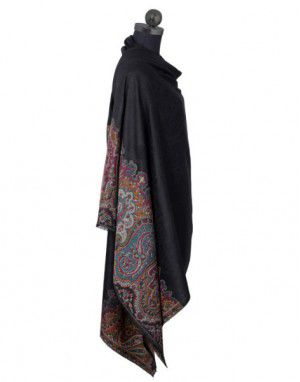 Pure wool black shawl with suroski border