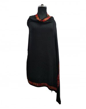 women self design with boder black shawls