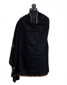 Kashmiri embroidery designer shawl black