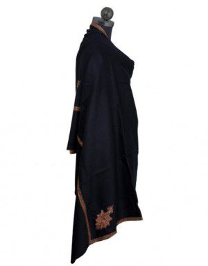 Kashmiri embroidery designer shawl black