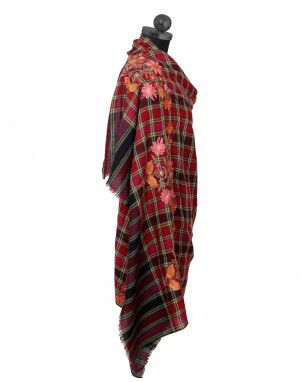Pure wool Flower Embroidery With Check Design shawl