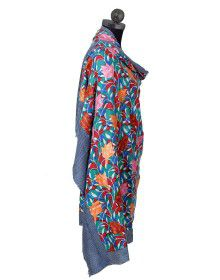 Pure wool full flower embroidery design shawl blue