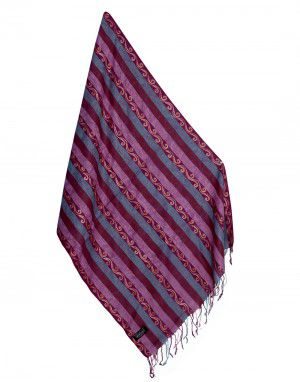 Woolblend Floral stole with multi thread stripes Pink