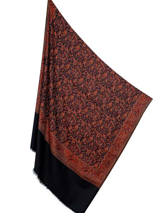 Wool blend intricate jamdani shawl Black
