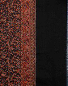 Wool blend intricate jamdani shawl Black