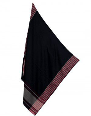 Wool blend shawl Plain with multi stripes border black