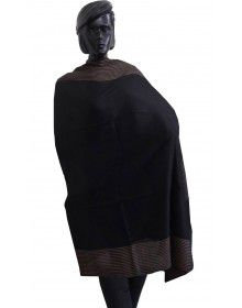 Wool Blend Shawl With Side Border Black