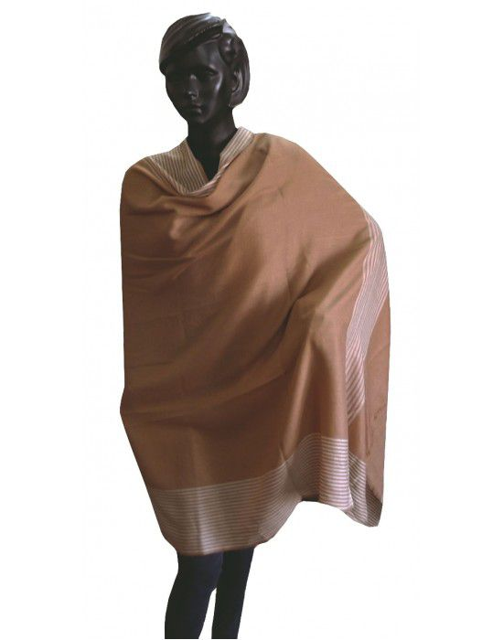 Wool blend shawl with side border Brown