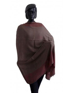 Wool blend shawl with side border Dbrown