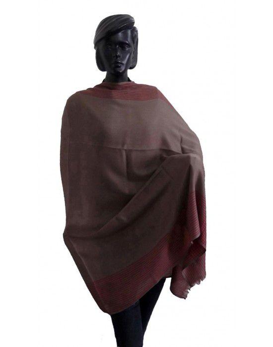 Wool blend shawl with side border Dbrown