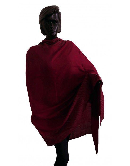 Wool blend shawl with side border Maroon