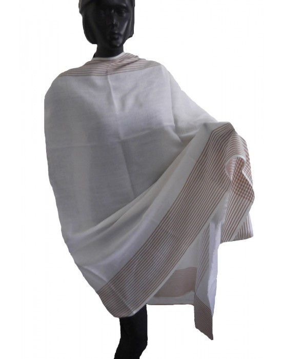 Wool blend shawl with side border White