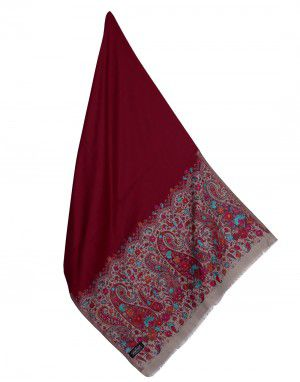 Woolblend Floral stole with ambi design border Maroon