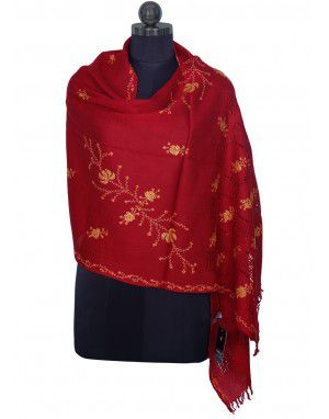 Kashmiri Handwork Stole Red