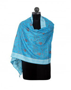allover kashmiri embroidery stole skyblue