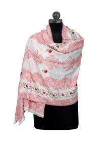 Kashmiri embroidery & printed stole Light pink