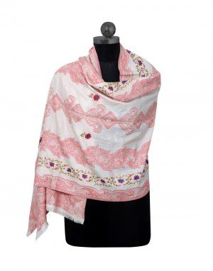 Kashmiri embroidery & printed stole Cream