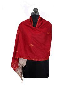 kashmiri embroidery with jaal palla Stole Red