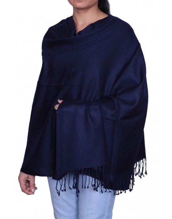 Plain Stole Navy Blue