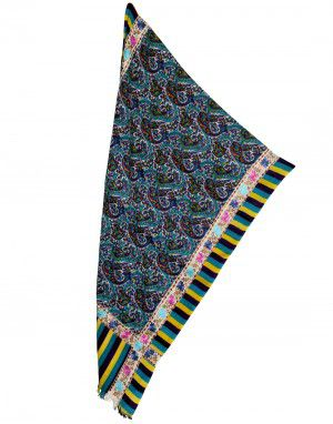 Print stole with floral embroidery four sided multi